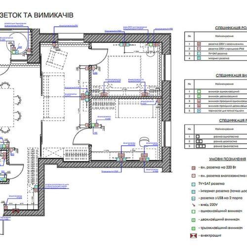 """Дизайн інтер'єру квартири ЖК """"Миру"""", план розеток і вимикачів"""