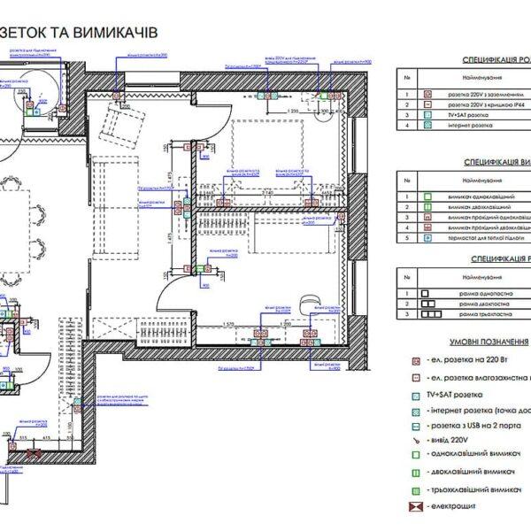 """Дизайн интерьера квартиры ЖК """"Мира"""", план розеток и выключателей"""
