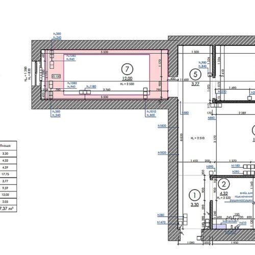 Дизайн-проект інтер'єру квартири по пр. Науки, план обмірний