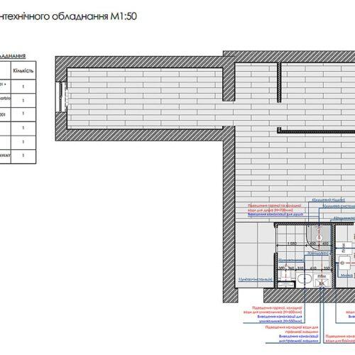 Дизайн-проект интерьера квартиры по пр. Науки, план привязки сантехнического оборудования