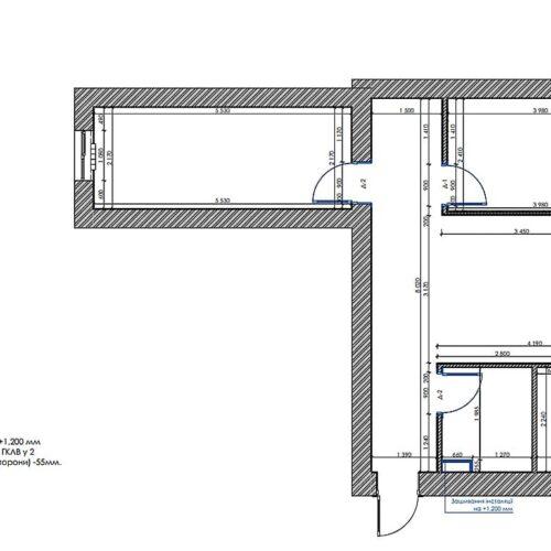Дизайн-проект интерьера квартиры по пр. Науки, план монтажа