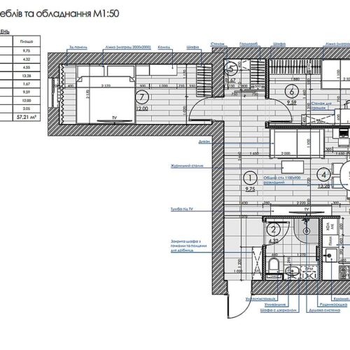Дизайн-проект интерьера квартиры по пр. Науки, план размещения мебели и оборудования