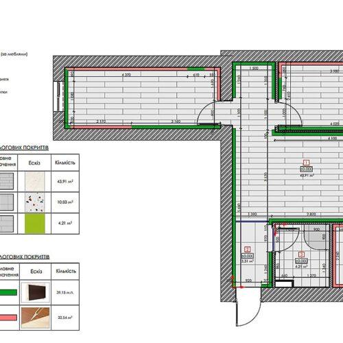 Дизайн-проект інтер'єру квартири по пр. Науки, план підлоги