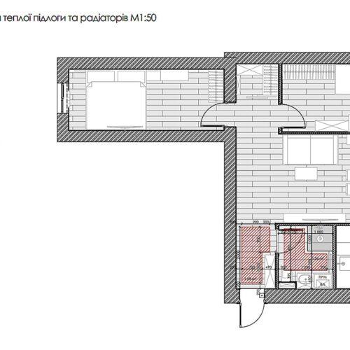 Дизайн-проект інтер'єру квартири по пр. Науки, план теплої підлоги