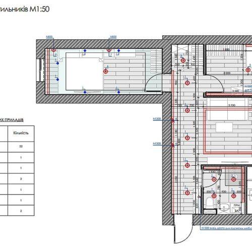 Дизайн-проект интерьера квартиры по пр. Науки, план размещения светильников