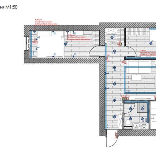 Дизайн-проект интерьера квартиры по пр. Науки, план групп освещения