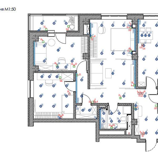 """Дизайн-проект інтер'єру трикімнатної квартири ЖК """"Пролісок"""", план груп освітлення у всій квартирі"""