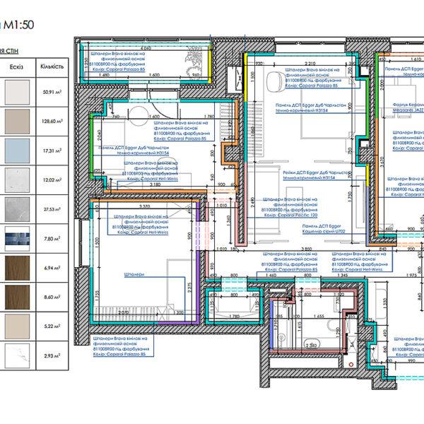 """Дизайн-проект інтер'єру трикімнатної квартири ЖК """"Пролісок"""", план оздоблення стін"""