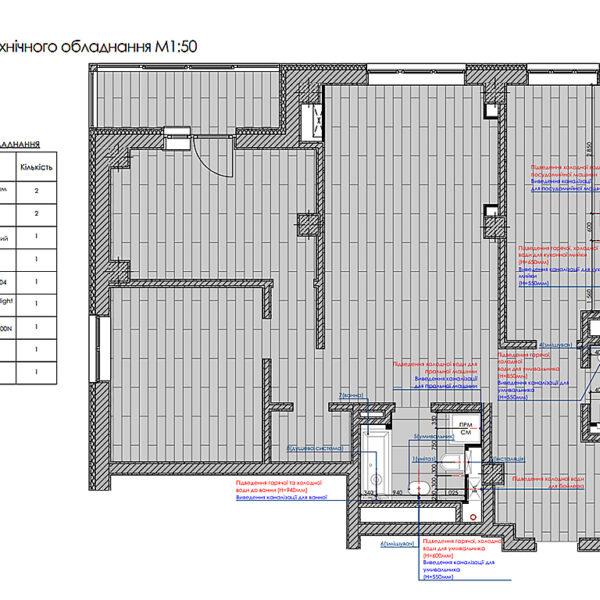 """Дизайн-проект інтер'єру трикімнатної квартири ЖК """"Пролісок"""", план розміщення сантехнічного обладнання"""