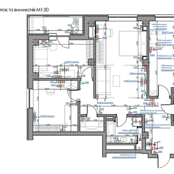 """Дизайн-проект інтер'єру трикімнатної квартири ЖК """"Пролісок"""", план груп освітлення"""