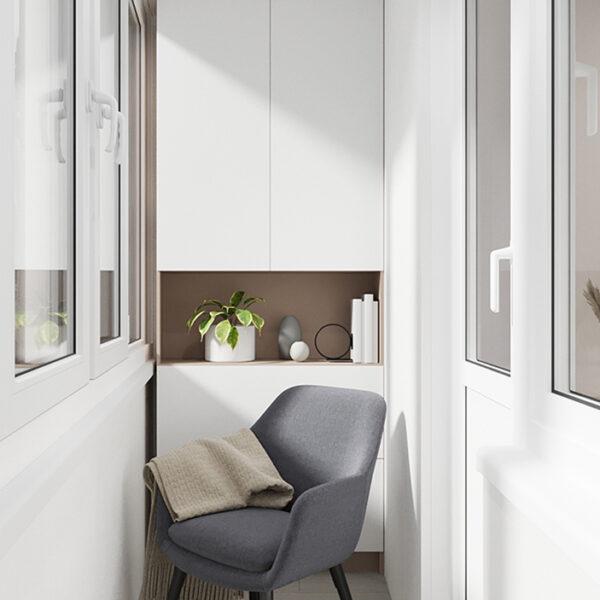 Дизайн-проект интерьера квартиры по улице Полтавский Шлях, лоджия с видом на кресло