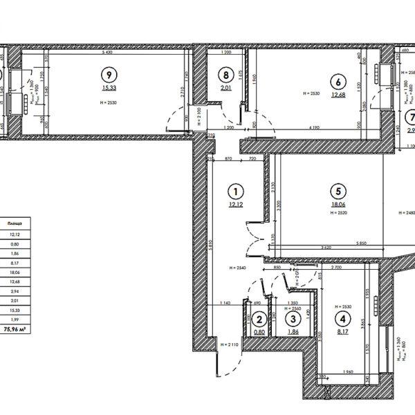 Дизайн-проект интерьера квартиры по улице Полтавский Шлях, план обмерный