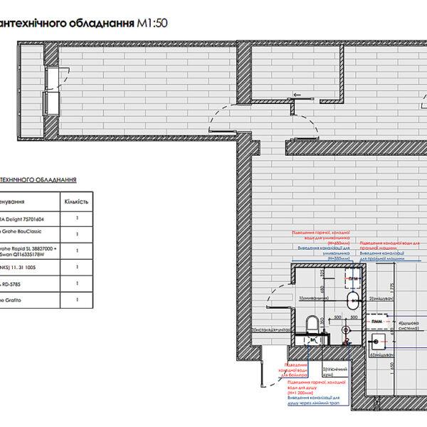 Дизайн-проект интерьера квартиры по улице Полтавский Шлях, план привязки сантехнического оборудования