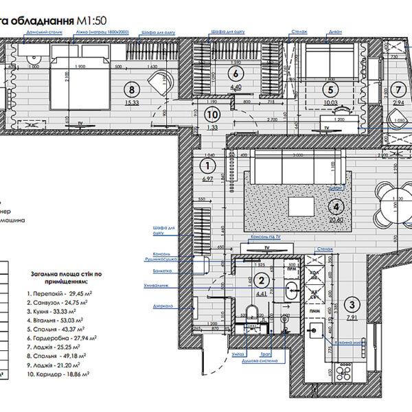 Дизайн-проект інтер'єру квартири по вулиці Полтавський Шлях, план розміщення меблів та обладнання