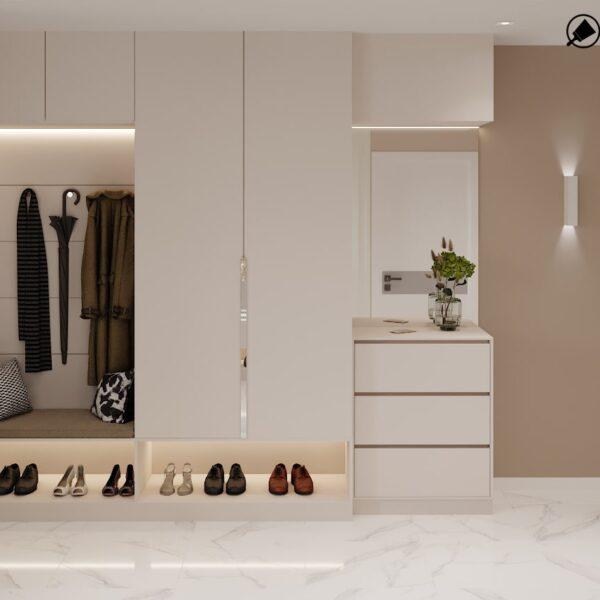 Дизайн-проект интерьера дома пгт Бабаи, прихожая вид сбоку