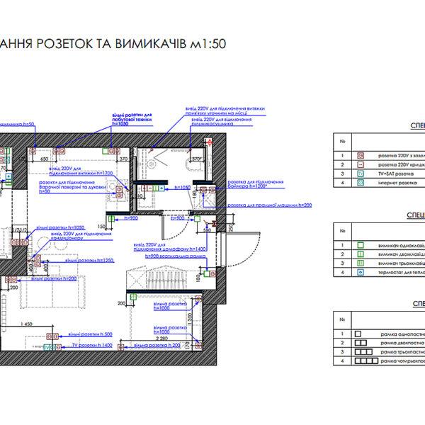 """Дизайн-проект однокімнатної квартири ЖК """"Пташка"""", план розеток і вимикачів"""