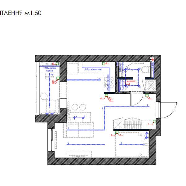 """Дизайн-проект однокімнатної квартири ЖК """"Пташка"""", план груп освітлення"""