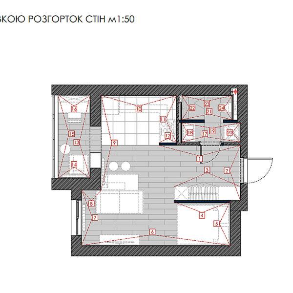 """Дизайн-проект однокомнатной квартиры ЖК """"Птичка"""", план маркировки развёртки стен"""