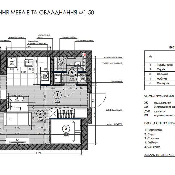 """Дизайн-проект однокімнатної квартири ЖК """"Пташка"""", план розміщення меблів та обладнання"""