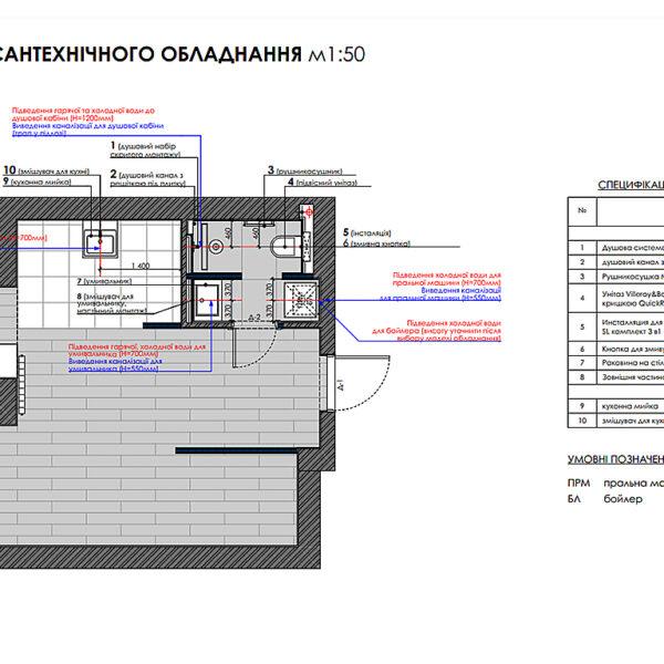 """Дизайн-проект однокімнатної квартири ЖК """"Пташка"""", план сантехнічного обладнання"""