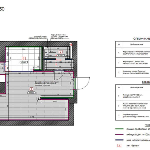 """Дизайн-проект однокімнатної квартири ЖК """"Пташка"""", план підлоги"""
