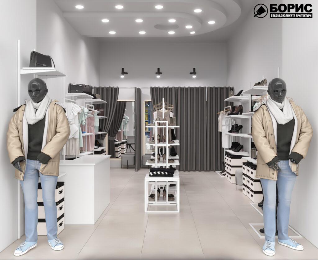 Дизайн интерьера магазина женской одежды и обуви