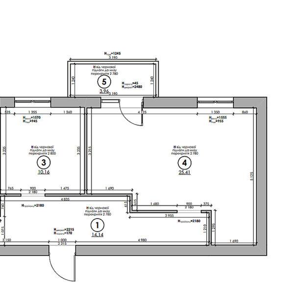 """Дизайн-проект однокімнатної квартири ЖК """"Райдужний"""", план обмірний"""