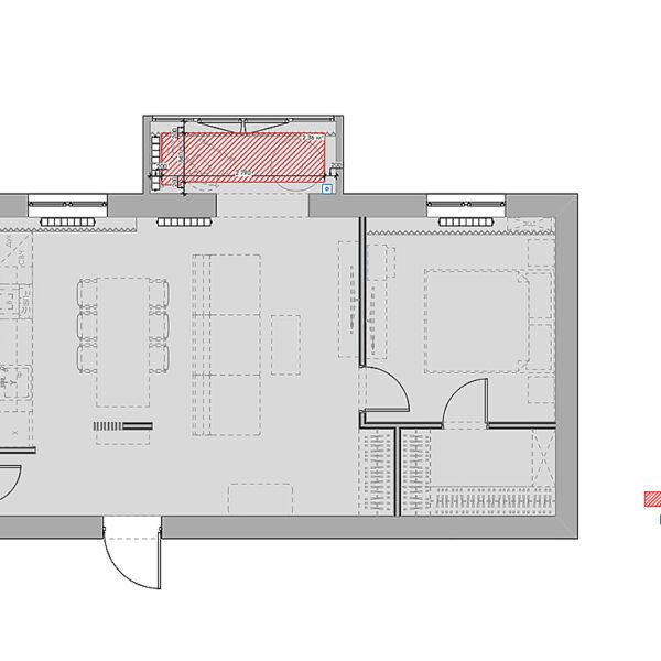 """Дизайн-проект однокомнатной квартиры ЖК """"Радужный"""", план тёплого пола"""