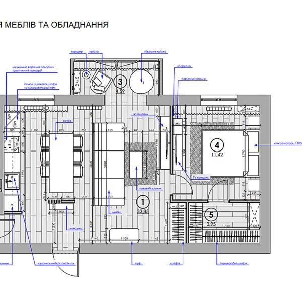 """Дизайн-проект однокімнатної квартири ЖК """"Райдужний"""", план розміщення меблів і оладнання"""