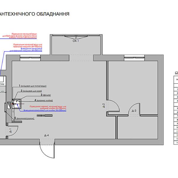 """Дизайн-проект однокомнатной квартиры ЖК """"Радужный"""", план размещения сантехнического оборудования"""