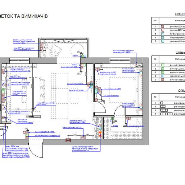 """Дизайн-проект однокімнатної квартири ЖК """"Райдужний"""", план розеток і вимикачів"""