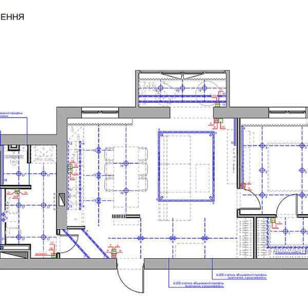 """Дизайн-проект однокімнатної квартири ЖК """"Райдужний"""", план груп вимикачів"""