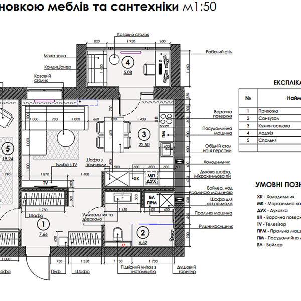 """Дизайн-проект интерьера квартиры ЖК """"Сказка"""", план размещения мебели и сантехники"""