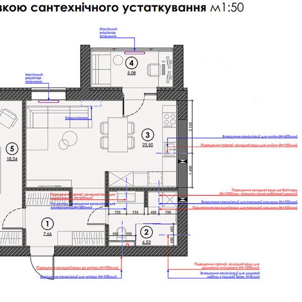 """Дизайн-проект интерьера квартиры ЖК """"Сказка"""", план размещения сантехнического оборудования"""