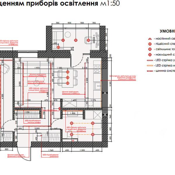 """Дизайн-проект интерьера квартиры ЖК """"Сказка"""", план размещения приборов освещения"""