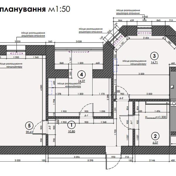 """Дизайн інтер'єру квартири ЖК """"Сокольники"""", план після перепланування"""