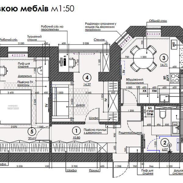 """Дизайн інтер'єру квартири ЖК """"Сокольники"""", план розміщення меблів і обладнання"""