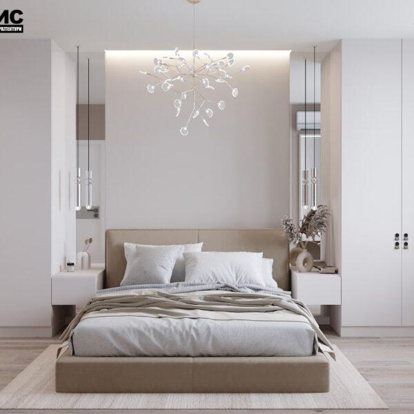 Дизайн-проект интерьера дома пгт Бабаи, спальня вид спереди