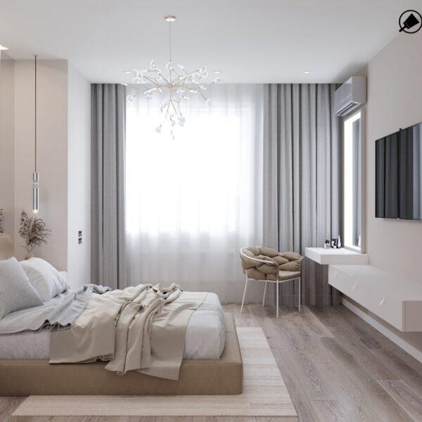 Дизайн-проект интерьера дома пгт Бабаи, спальня вид справа