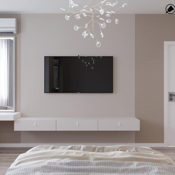 Дизайн-проект интерьера дома пгт Бабаи, спальня вид сзади