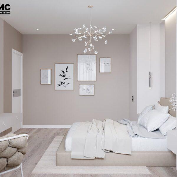 Дизайн-проект интерьера дома пгт Бабаи, спальня вид слева