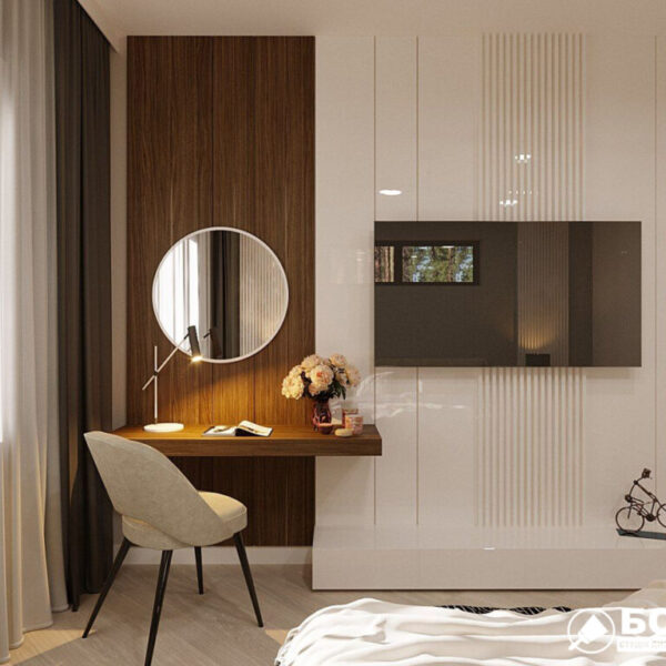 Дизайн-проект приватного будинку, спальня вид ззаду