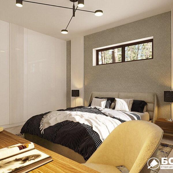 Дизайн-проект приватного будинку, спальня вид зліва