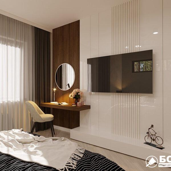 Дизайн-проект частного дома, спальня вид справа
