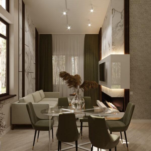 Дизайн-проект частного дома, гостиная вид справа