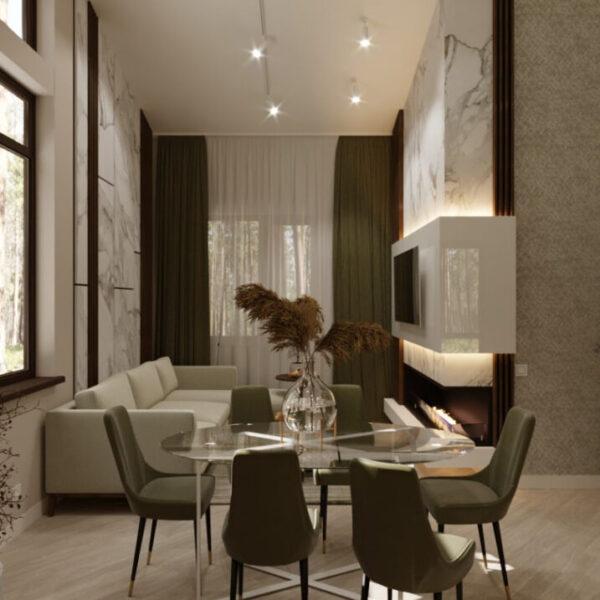 Дизайн-проект приватного будинку, вітальня вид справа