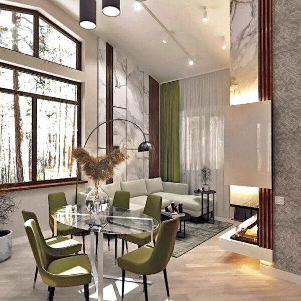 Дизайн-проект приватного будинку, вітальня вид збоку фото 2