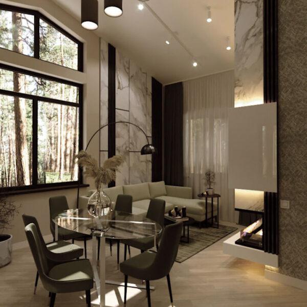 Дизайн-проект приватного будинку, вітальня вид збоку