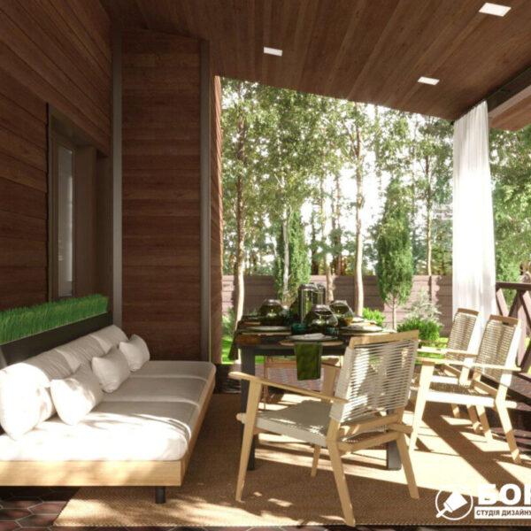 Дизайн-проект приватного будинку, тераса вид справа