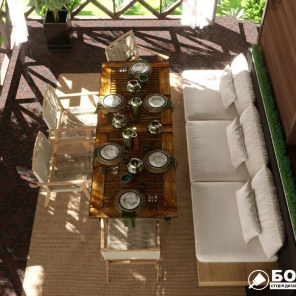 Дизайн-проект приватного будинку, тераса вид зверху
